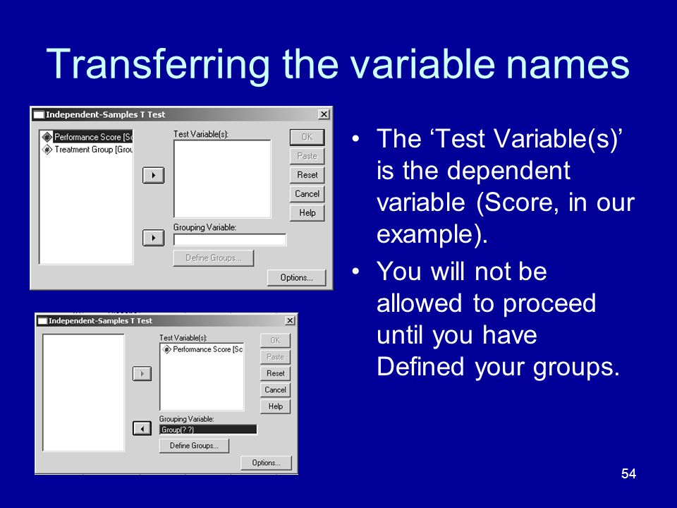 Transferring the variable names