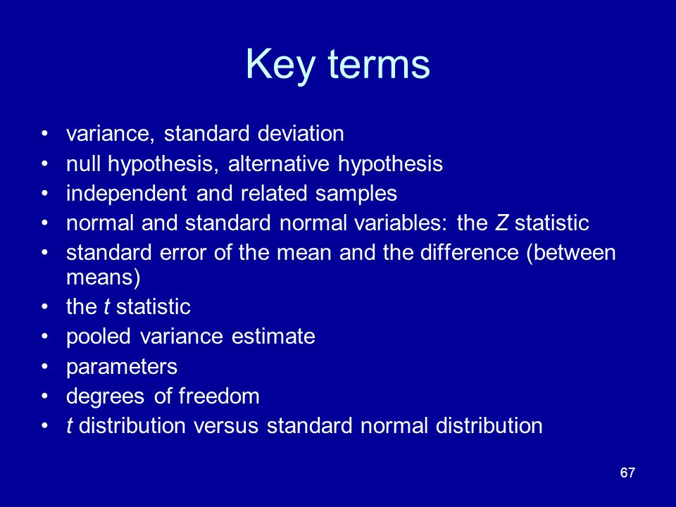 Key terms variance, standard deviation