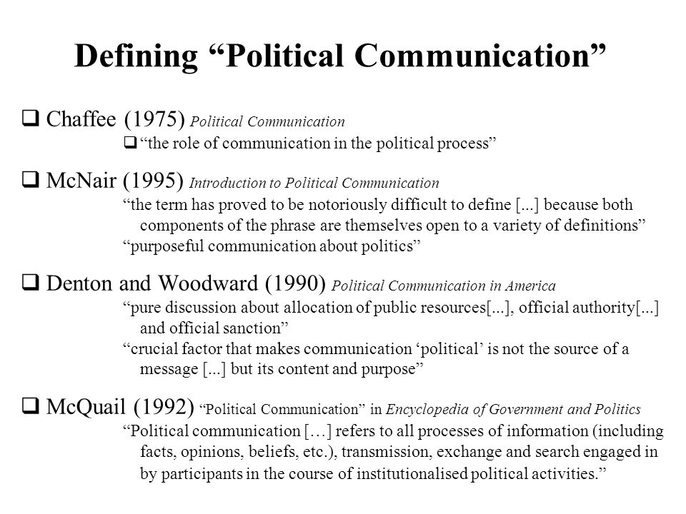 Defining Political Communication