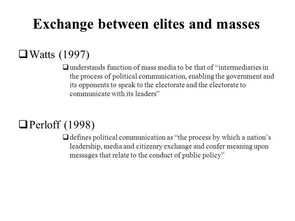Exchange between elites and masses