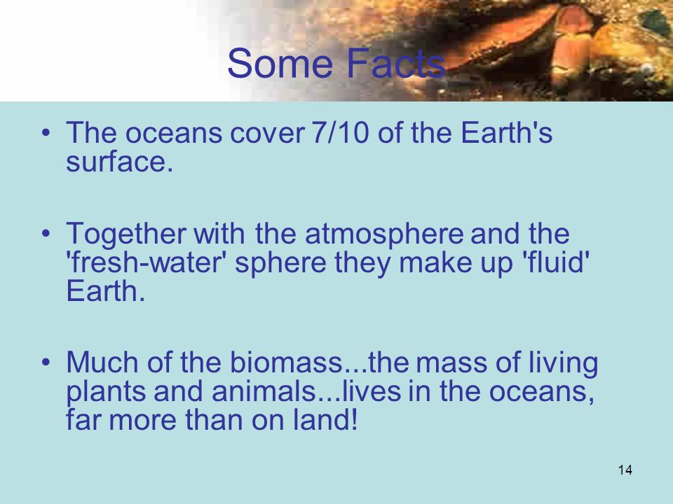 Some Facts The oceans cover 7/10 of the Earth s surface.
