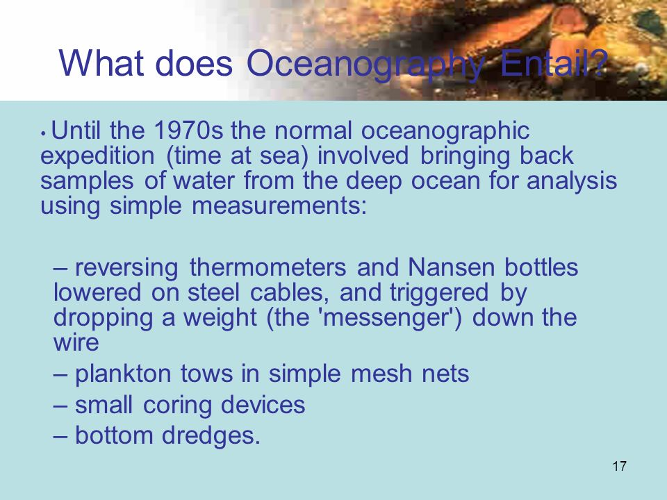 What does Oceanography Entail