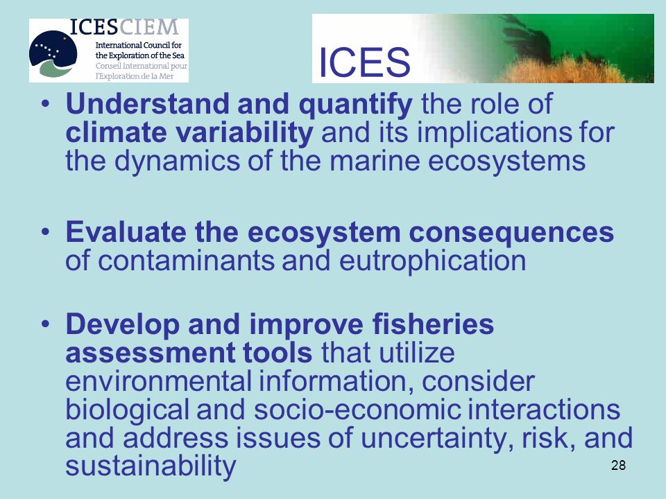 ICES Understand and quantify the role of climate variability and its implications for the dynamics of the marine ecosystems.