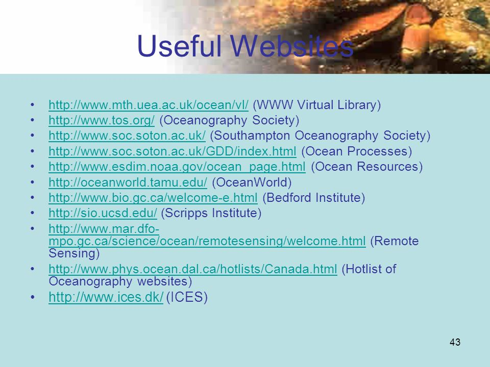 Useful Websites   (ICES)