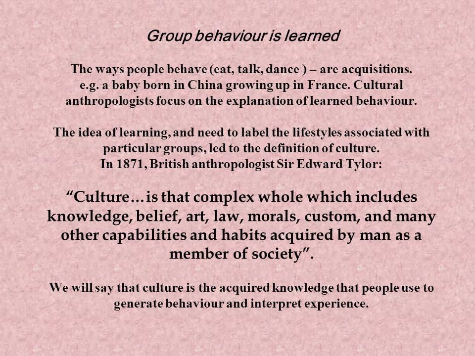 Group behaviour is learned The ways people behave (eat, talk, dance ) – are acquisitions.