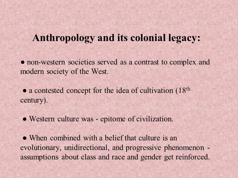 Anthropology and its colonial legacy: