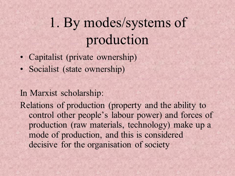 1. By modes/systems of production