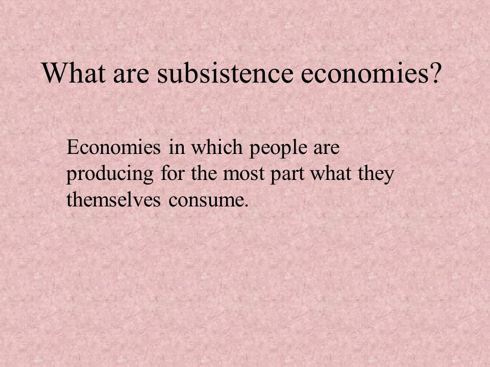 What are subsistence economies