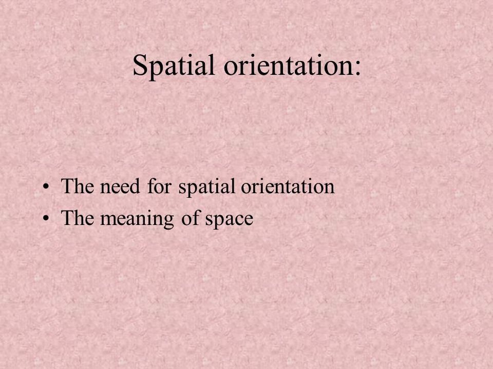 Spatial orientation: The need for spatial orientation