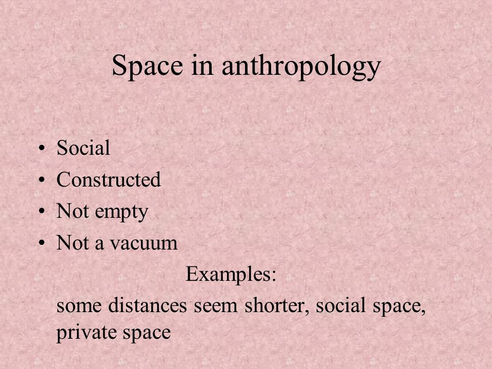 Space in anthropology Social Constructed Not empty Not a vacuum