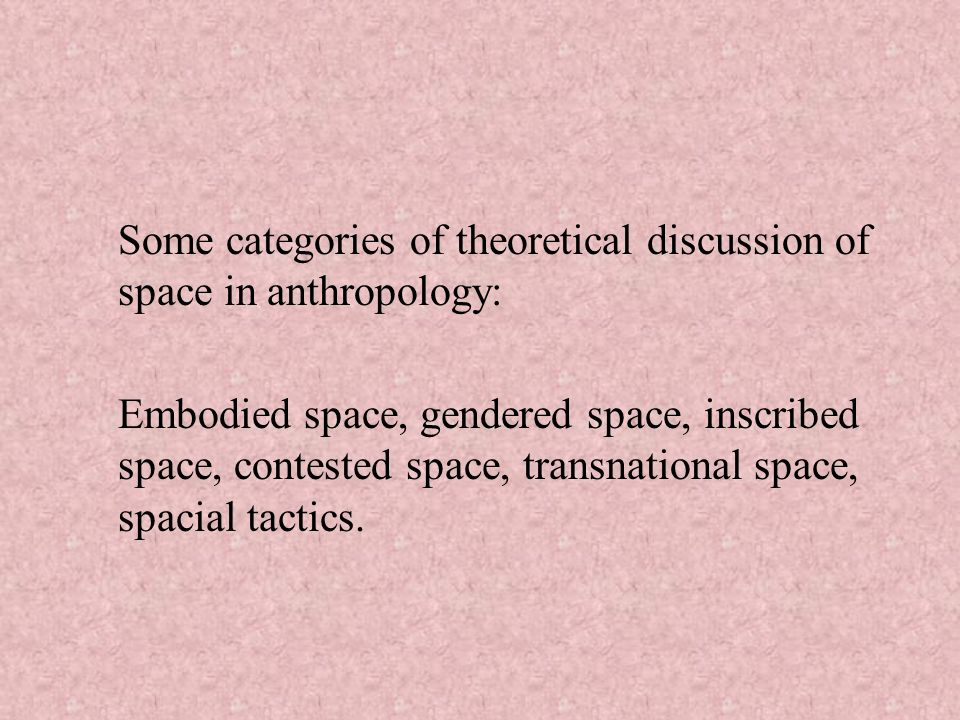 Some categories of theoretical discussion of space in anthropology: