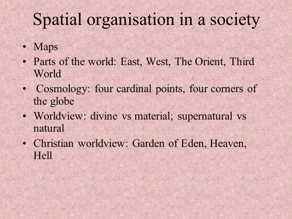 Spatial organisation in a society