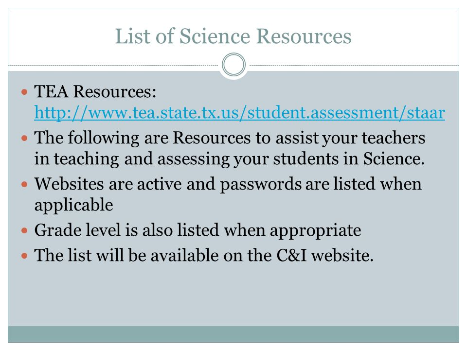 Secondary science meeting august 19 2015 garcia middle school ppt list of science resources fandeluxe Image collections