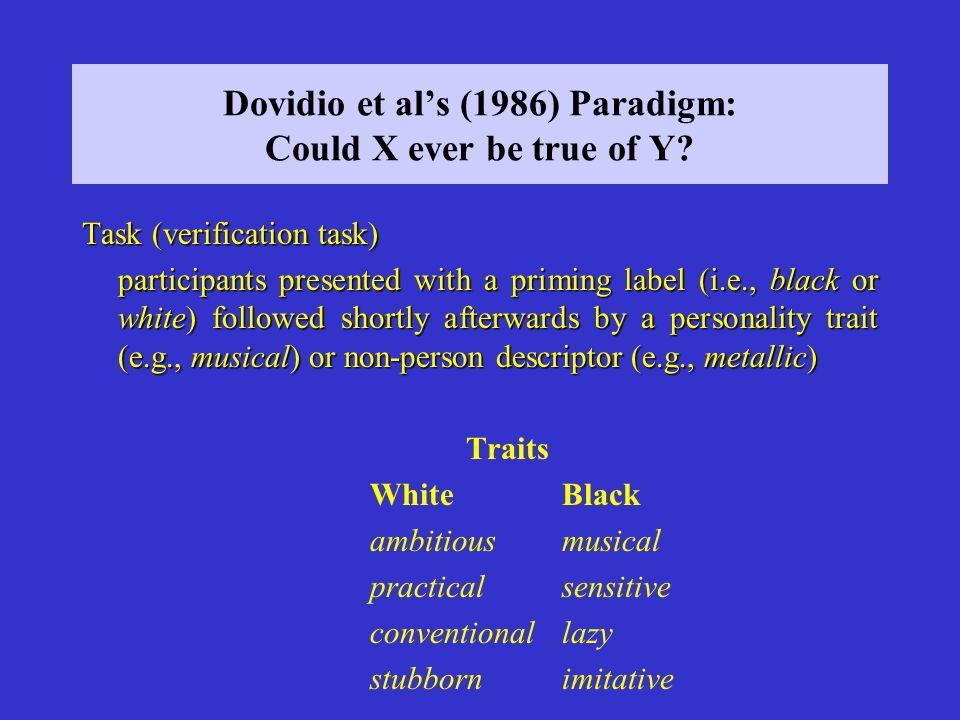 Dovidio et al's (1986) Paradigm: Could X ever be true of Y