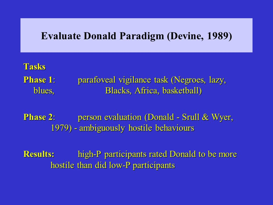 Evaluate Donald Paradigm (Devine, 1989)