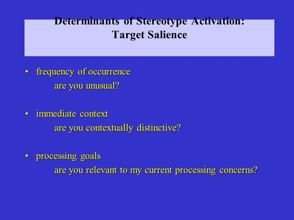 Determinants of Stereotype Activation: Target Salience