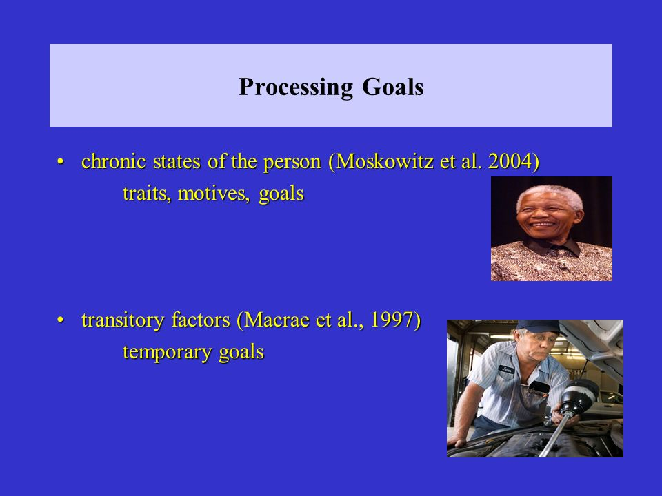Processing Goals chronic states of the person (Moskowitz et al. 2004)