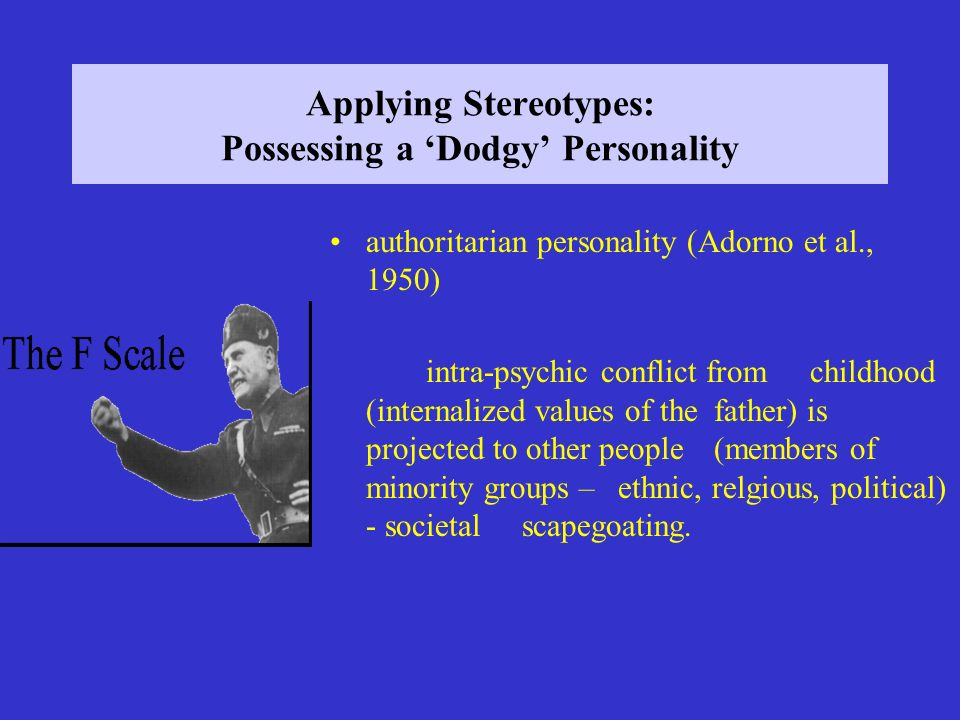 Applying Stereotypes: Possessing a 'Dodgy' Personality