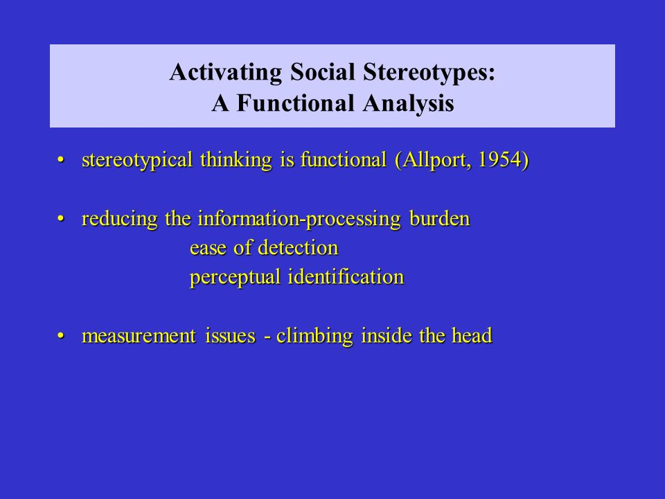 Activating Social Stereotypes: A Functional Analysis