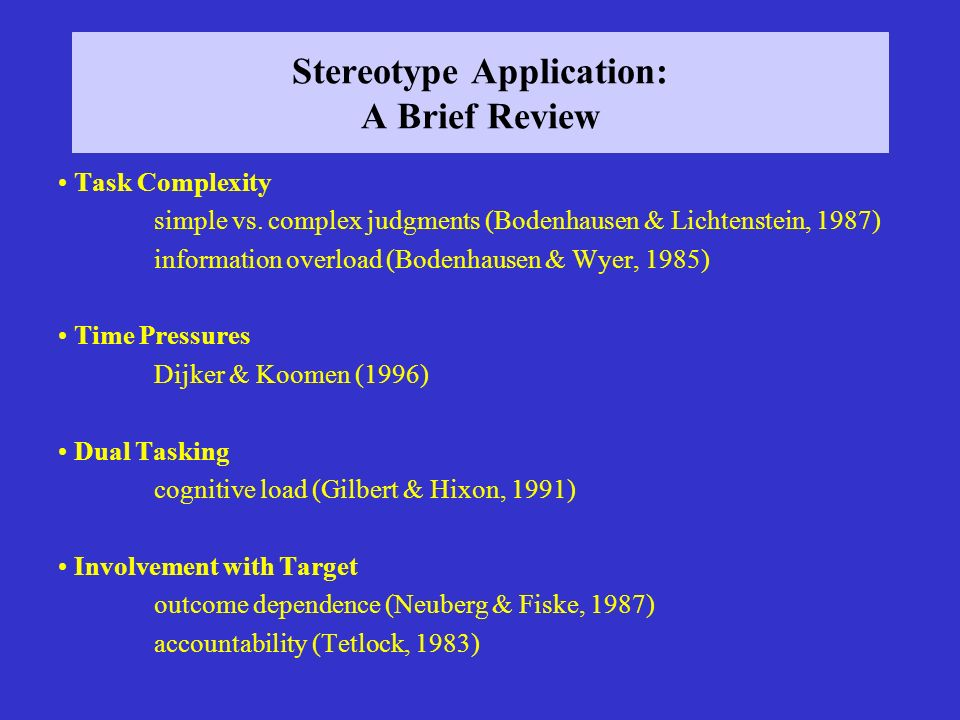 Stereotype Application: A Brief Review