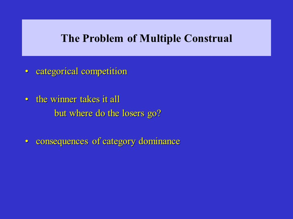 The Problem of Multiple Construal