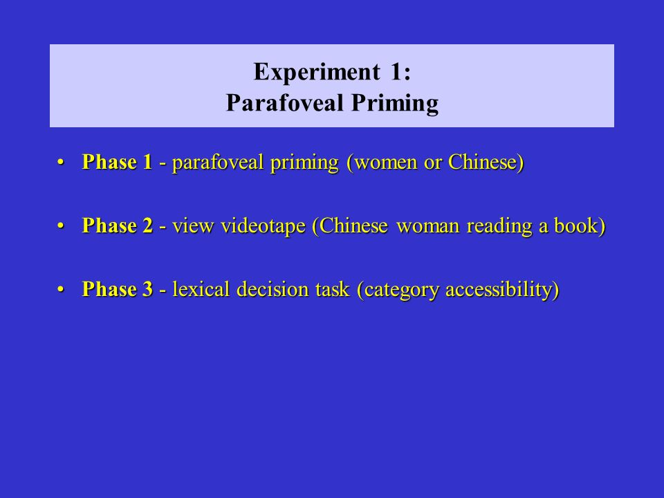 Experiment 1: Parafoveal Priming