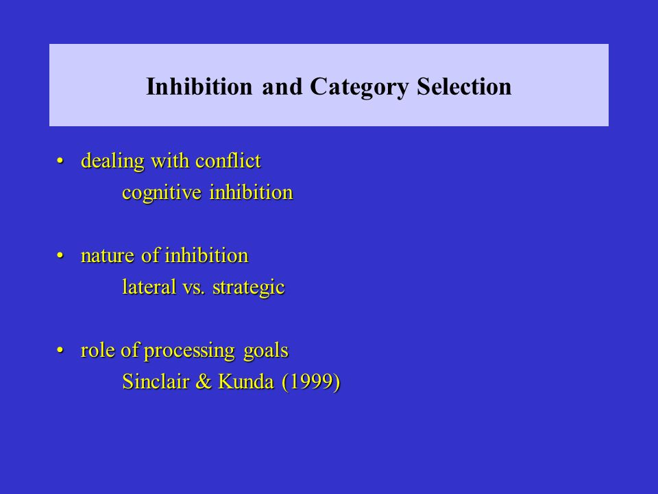 Inhibition and Category Selection