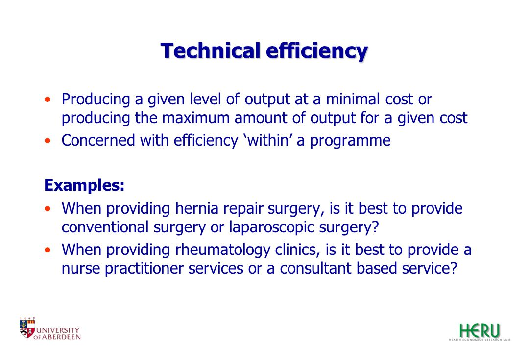 Technical efficiency Producing a given level of output at a minimal cost or producing the maximum amount of output for a given cost.
