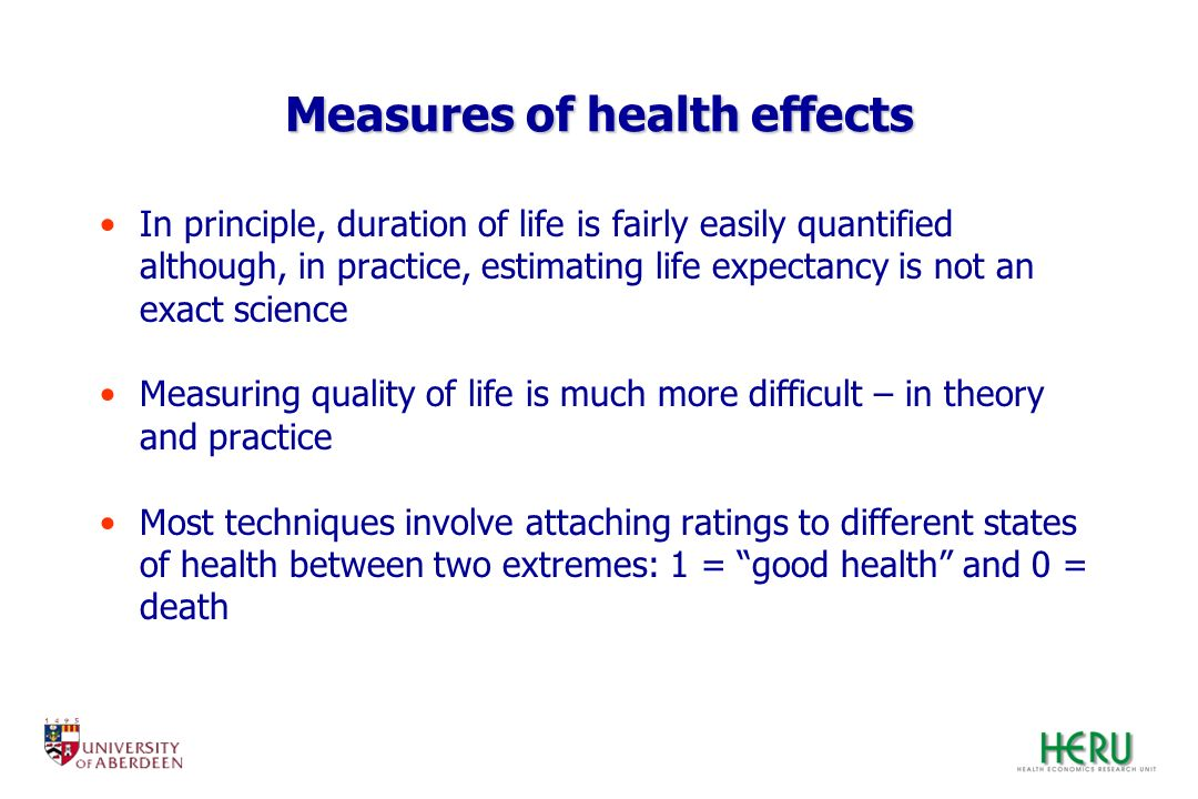 Measures of health effects