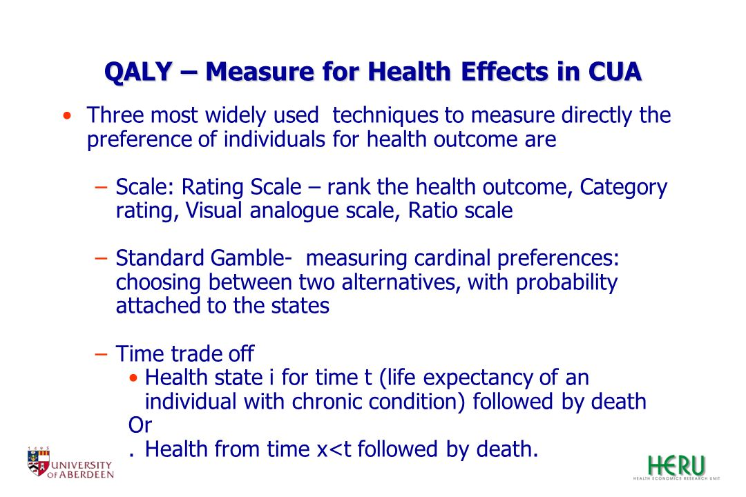QALY – Measure for Health Effects in CUA