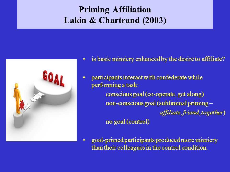 Priming Affiliation Lakin & Chartrand (2003)