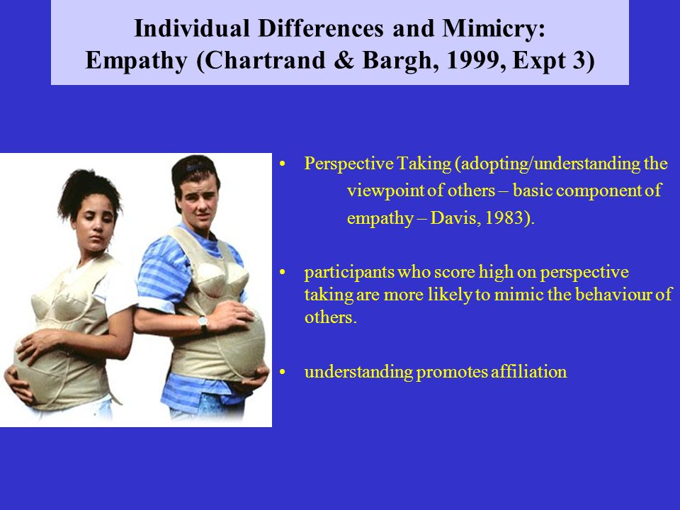 Individual Differences and Mimicry: Empathy (Chartrand & Bargh, 1999, Expt 3)
