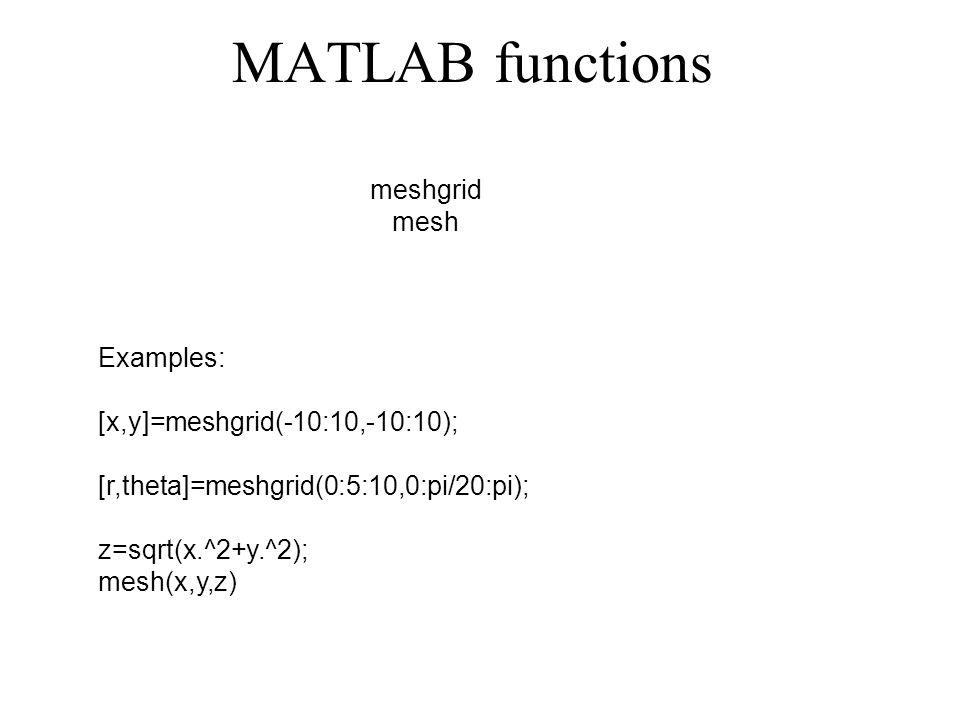 MATLAB functions meshgrid mesh Examples: