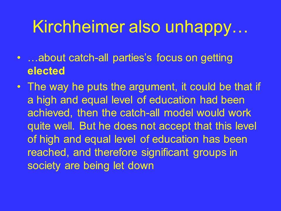 Kirchheimer also unhappy…
