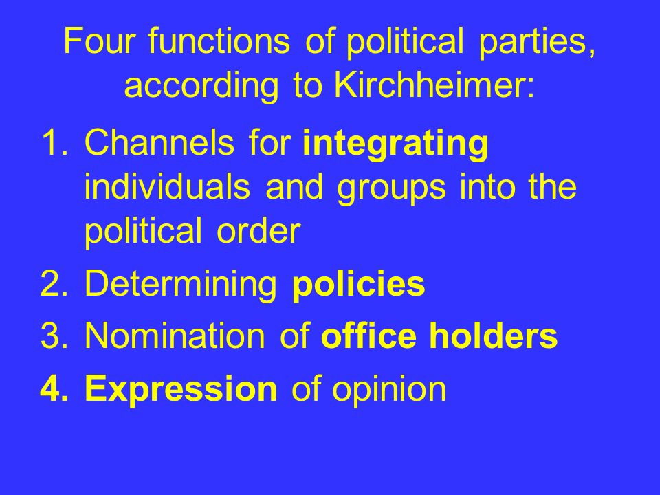 Four functions of political parties, according to Kirchheimer: