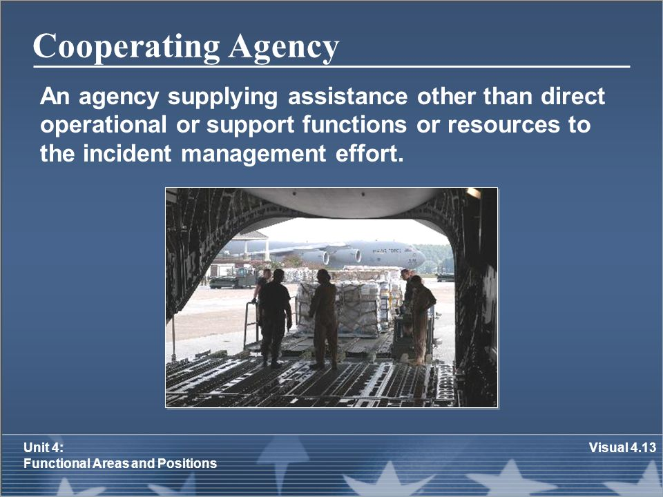 Cooperating Agency An agency supplying assistance other than direct operational or support functions or resources to the incident management effort.