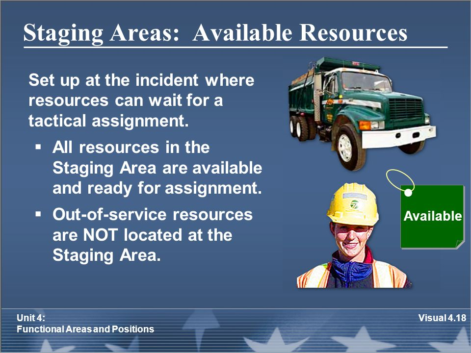 Staging Areas: Available Resources