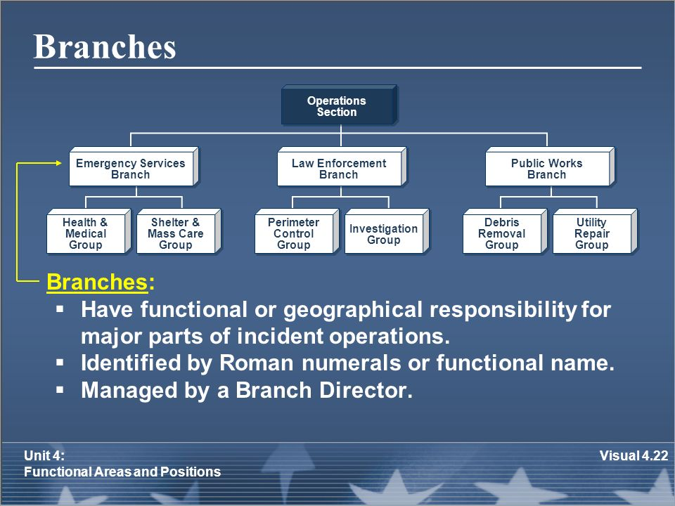 Branches Operations. Section. Emergency Services. Branch. Law Enforcement. Branch. Public Works.