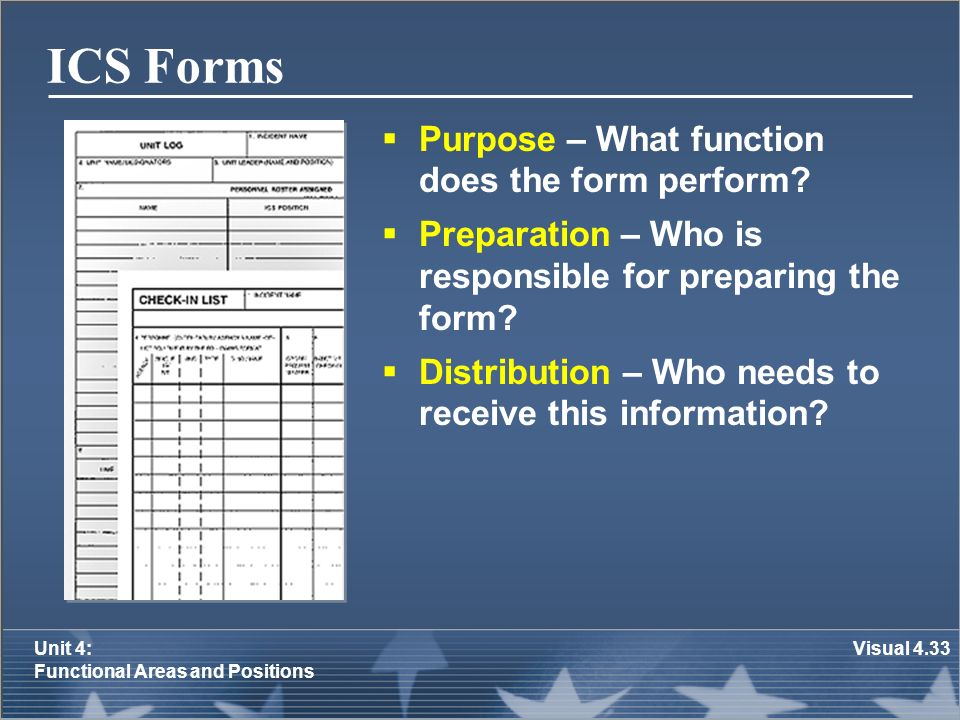 ICS Forms Purpose – What function does the form perform