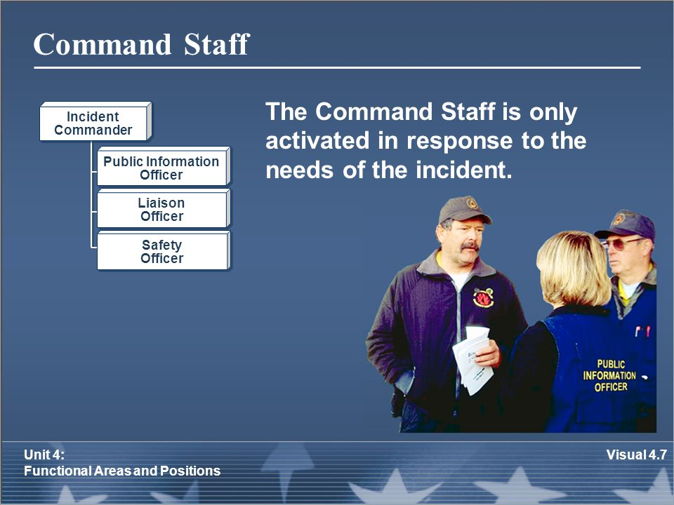 Command Staff The Command Staff is only activated in response to the needs of the incident. Incident.
