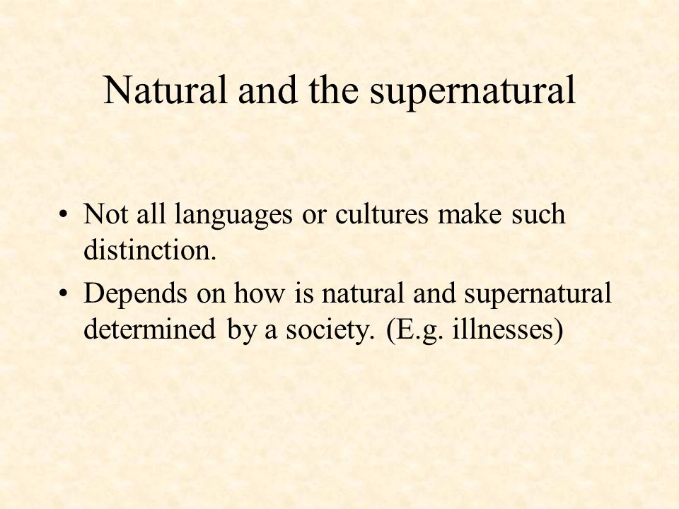 Natural and the supernatural