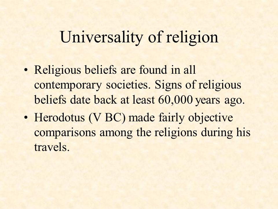 Universality of religion