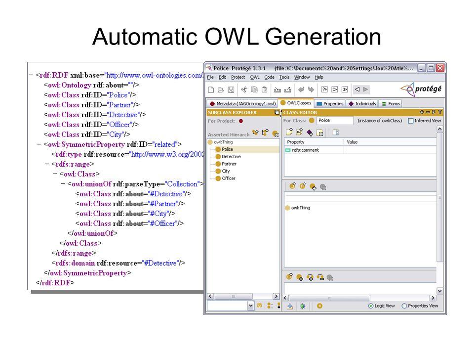 Automatic OWL Generation