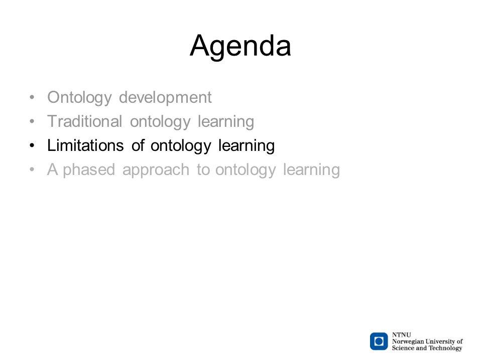 Agenda Ontology development Traditional ontology learning