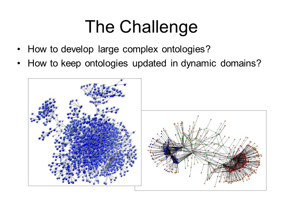 The Challenge How to develop large complex ontologies