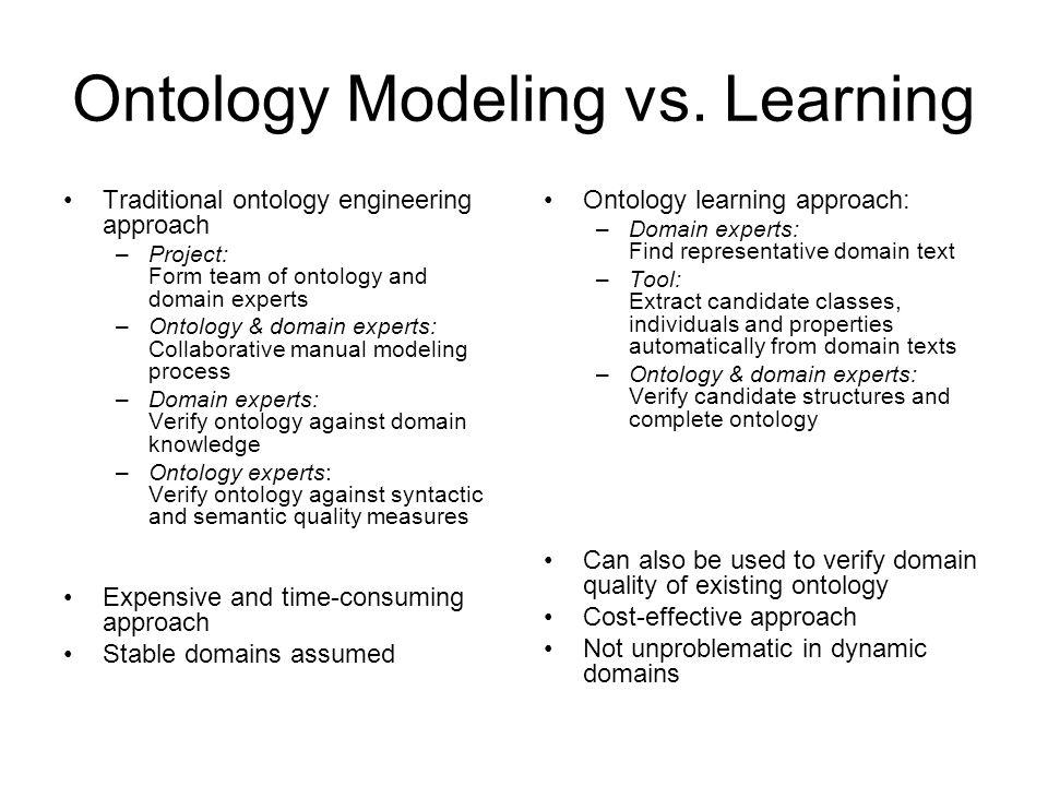 Ontology Modeling vs. Learning