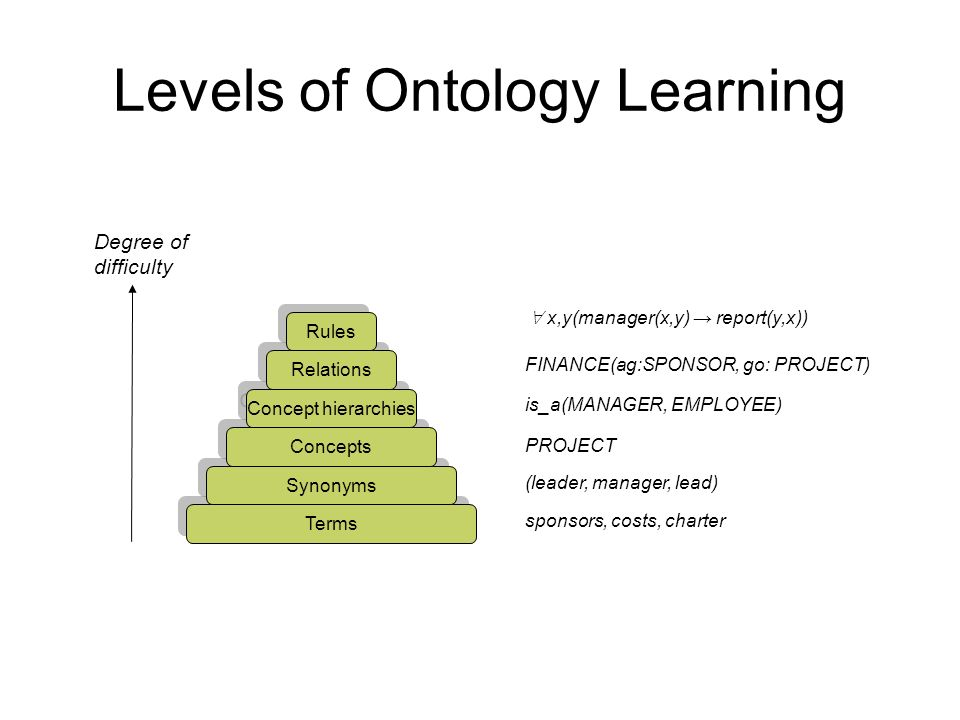 Levels of Ontology Learning
