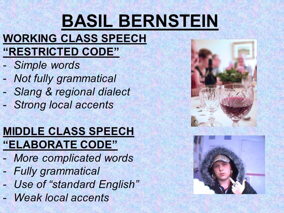 BASIL BERNSTEIN WORKING CLASS SPEECH RESTRICTED CODE - Simple words
