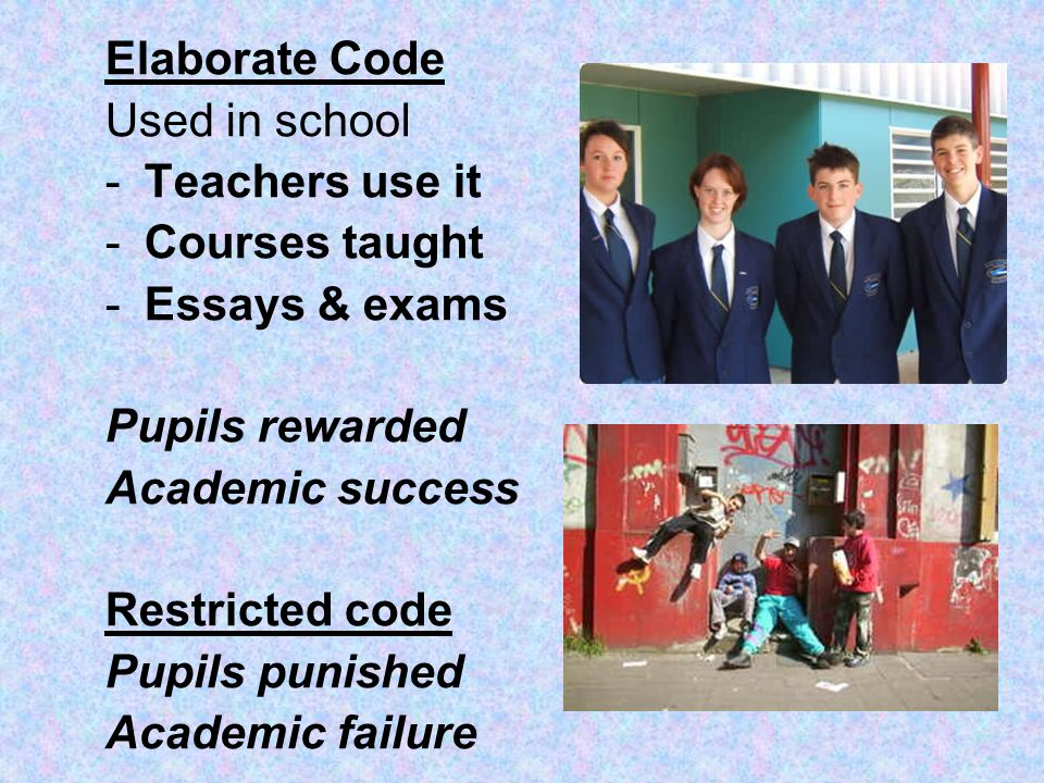 Elaborate Code Used in school. Teachers use it. Courses taught. Essays & exams. Pupils rewarded.