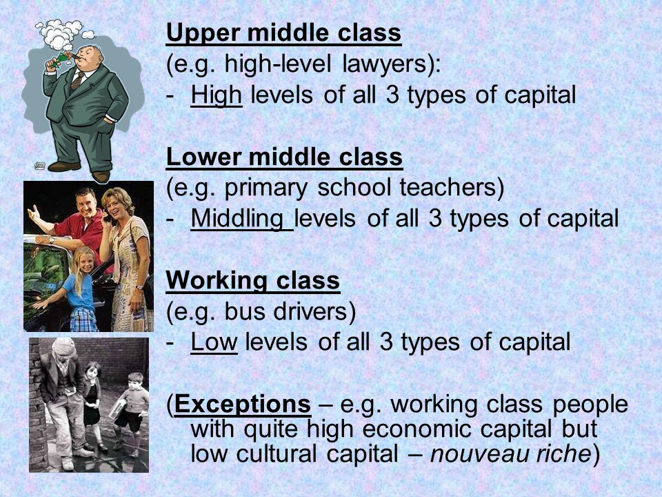 Upper middle class (e.g. high-level lawyers): High levels of all 3 types of capital. Lower middle class.
